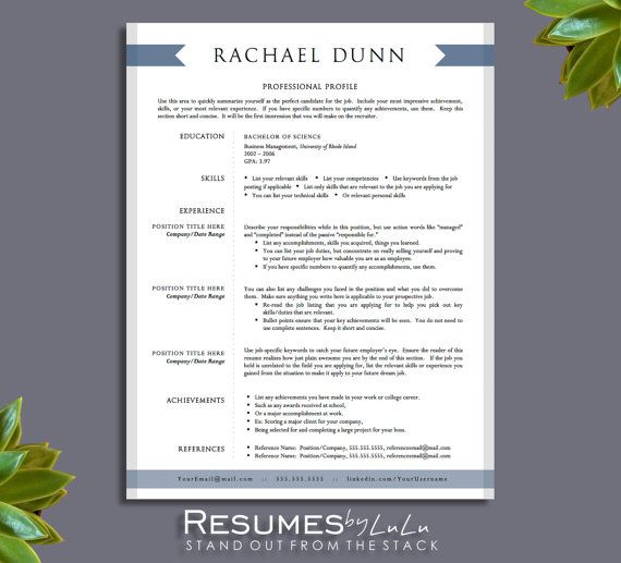 1 and 2 page Resume Template for Word and Pages + Cover Letter - 2 page resume