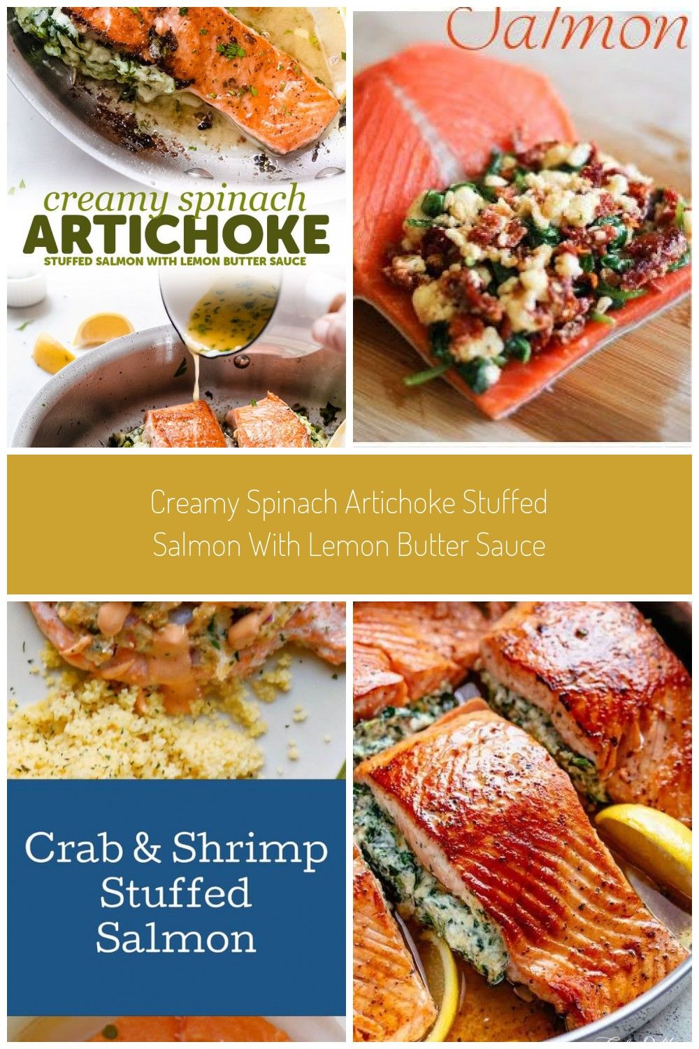 Photo of Creamy Spinach Artichoke Stuffed Salmon with Lemon Butter Sauce – An easy yet fa…