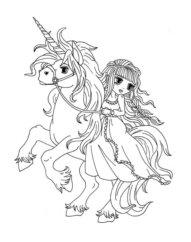 gratis ausmalbild manga mädchen auf einhorn  kostenlos
