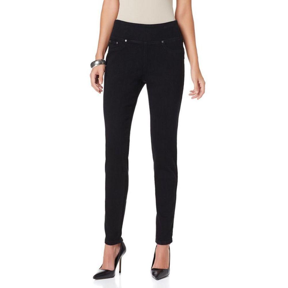 001590c4b65e1 DG2 Diane Gilman Pull On Stretch Fit Denim Comfort Jeggings BLACK Size PL  #DianeGilman #Jeggings