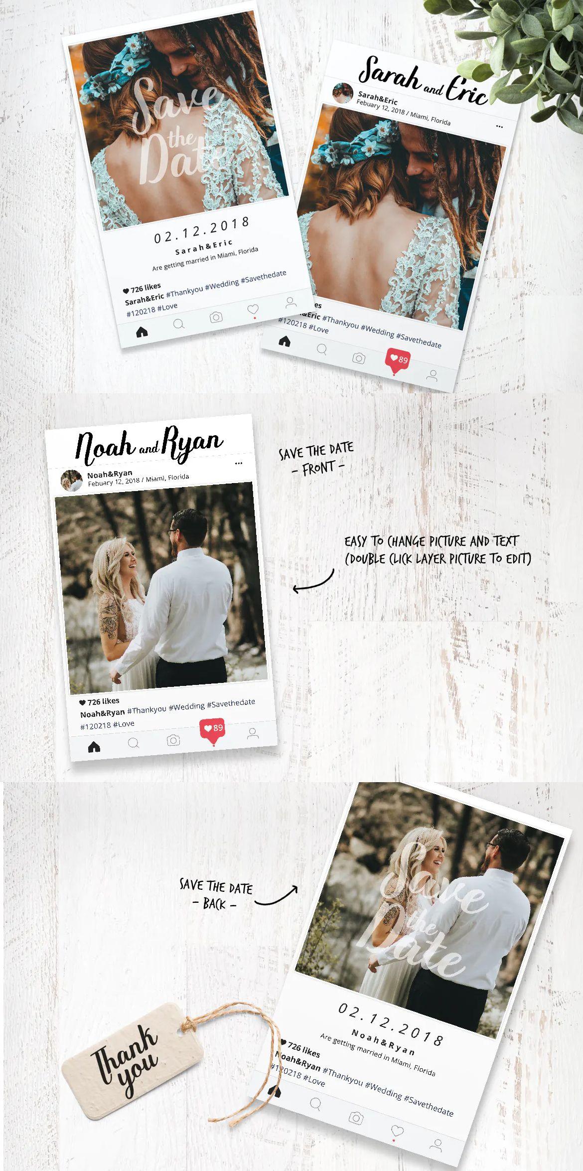 Instagram Wedding Invitation Template Psd