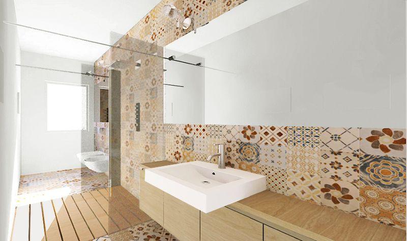 Una doccia passante per un bagno stretto e lungo ristrutturazione