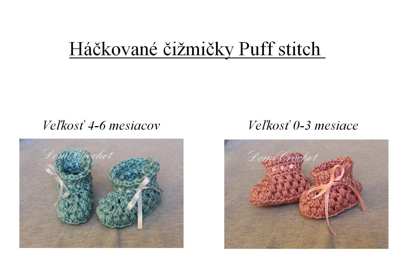 87dfb37855f5 Čižmičky Puff stitch Botines Para Bebé De Ganchillo