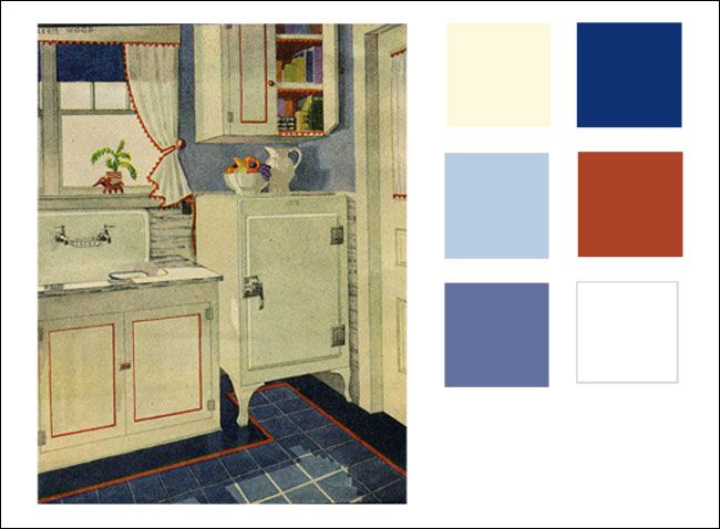 1929 kitchen color palette. blue & white, with a red pop! | living