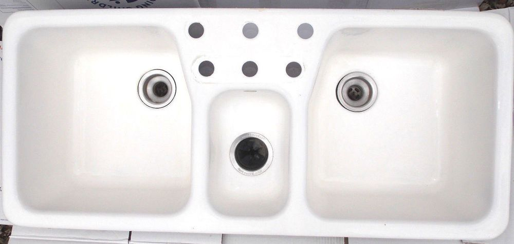 0 Kohler Cast Iron Triple Basin Double Faucet White Sink Local