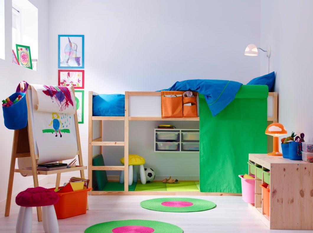 Cameretta Ikea Rosa : Cameretta con letto a soppalco in pino massiccio e combinazione con