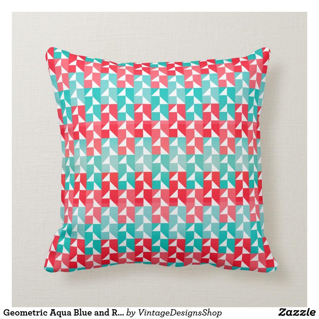 Geometric Aqua Blue And Red Modern Pattern Throw Pillow Zazzle