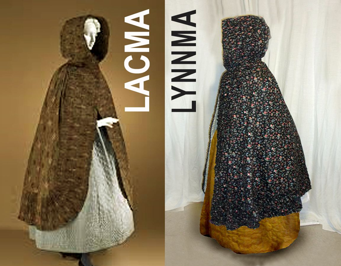 "LACMA inspiration, my interpretation on the right; Cotton print 'ramoneur' cape. completely hand-sewn, including that 8 inch wide ruched edging. Cape and trim took just under 10 yards of 45"" wide fabric to make."