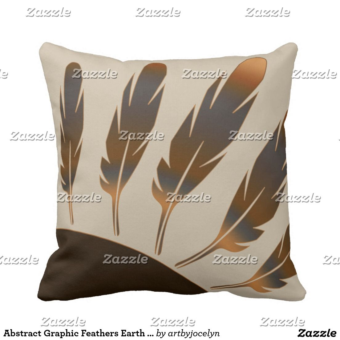 Abstract Graphic Feathers Earth Harvest Colors Pillow