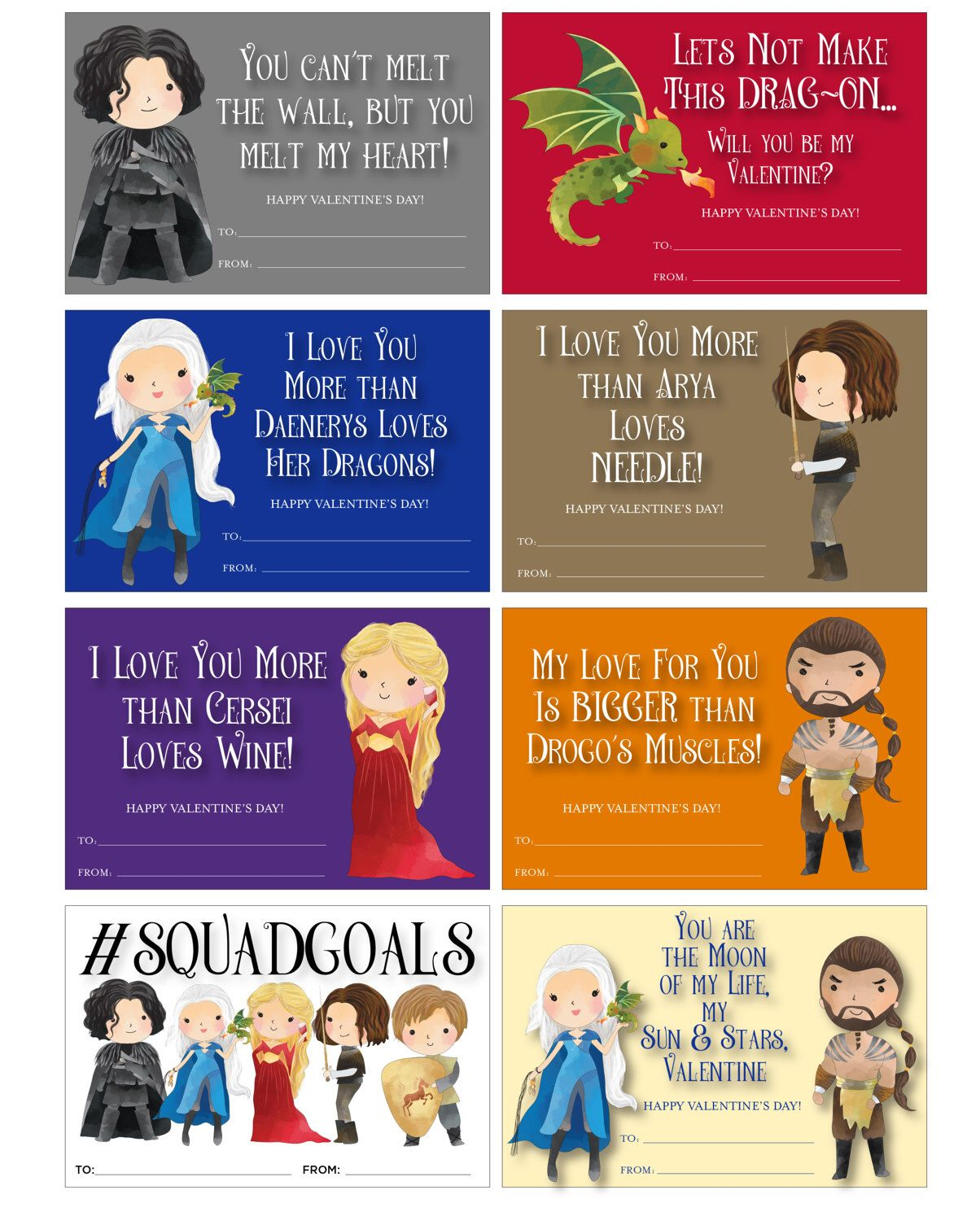 Game Of Thrones Valentines Game Of Thrones Valentine Cards Cute Game Of Thrones Valentines Jon Snow Valentines Picture Cards Valentines Games Valentines