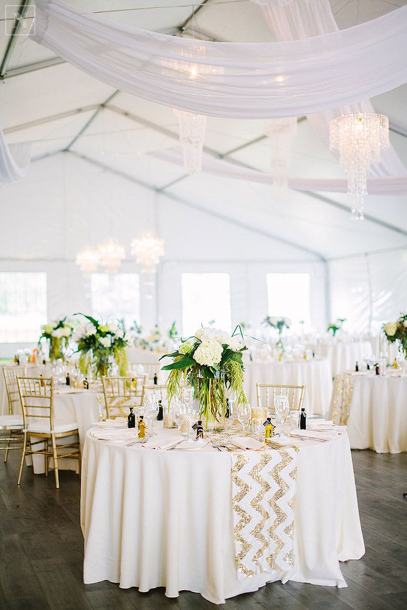 tent wedding, gold and white wedding, fresh florals, glitter chevron ...