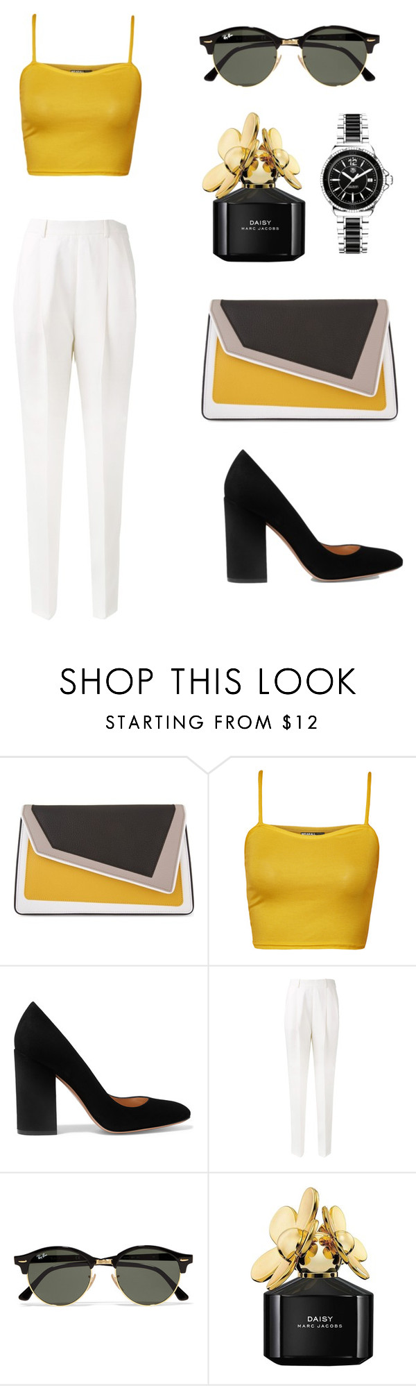 """Black & Yellow"" by joana-morais-i on Polyvore featuring âme moi, WearAll, Gianvito Rossi, Victoria Beckham, Ray-Ban, Marc Jacobs and TAG Heuer"