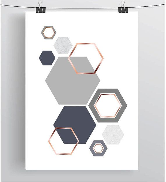 Grey And Rose Gold Print Gray & Copper Wall Art Geometric