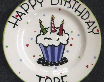 BIRTHDAY PLATE Cupcake Plate Cake 1st Birthday Happy Personalized Ceramic