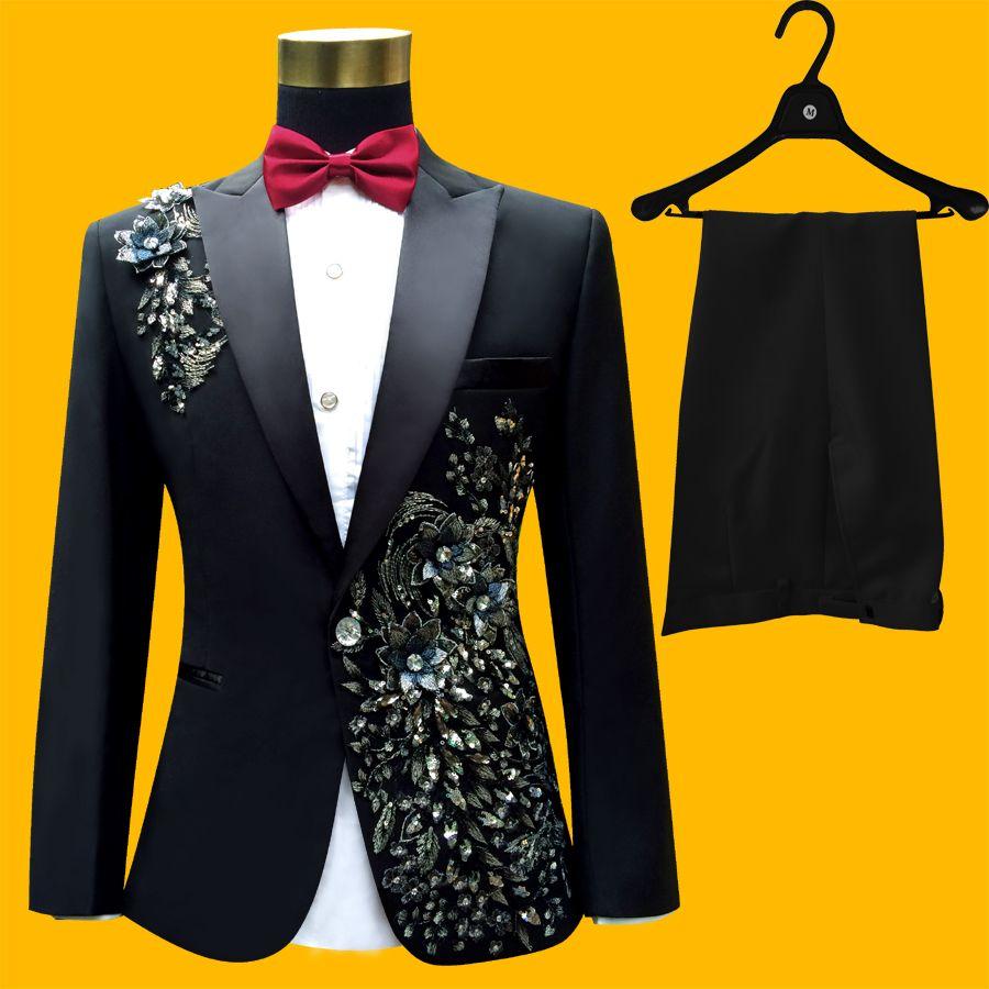Plus Size Men Suits ( Jacket + Pants ) S-4XL Fashion Black Paillette ...