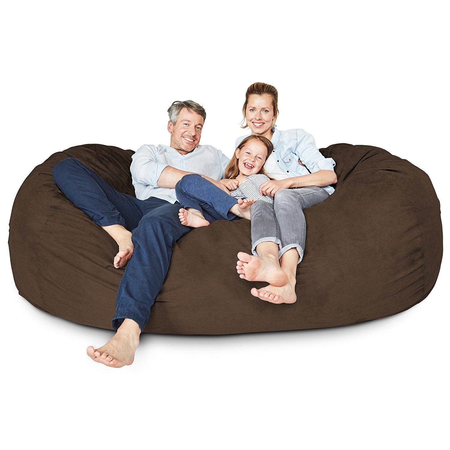 Lumaland Luxury 7 Foot Bean Bag Chair With Microsuede Cover Brown Machine Washable Big Size Sofa And Gian Bean Bag Chair Luxury Bean Bags Giant Bean Bag Chair