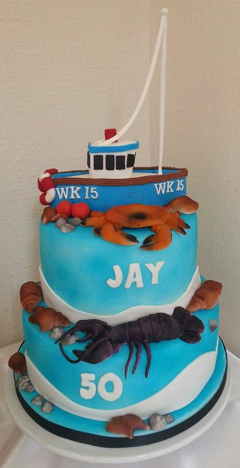 Fishing Boat With Lobster And Crab Wwwfacebookcomcakesbycarrie - Fishing boat birthday cake