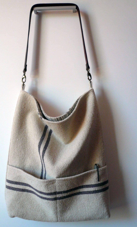 Bolso tela saco ralla gris reversible con tela de loneta - Tela de saco ...