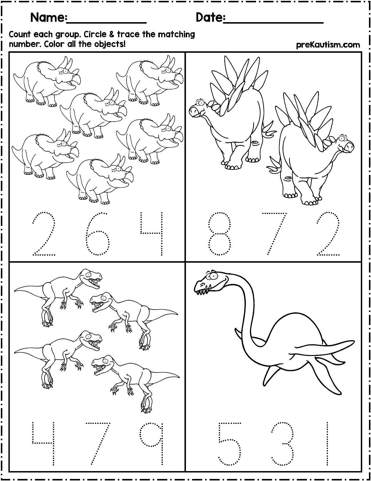 $1.50   Use these worksheets to teach quantity counting and number writing!  Pack includes 10 dinosaur the…   Writing numbers [ 1650 x 1275 Pixel ]