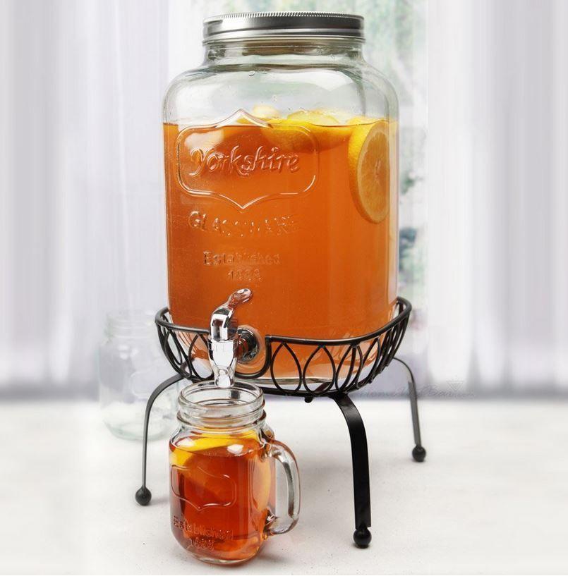 Mason Glass Jar Sweet Tea Jug Dispenser Stand Pitcher Spigot Bbq Bar Stool Pool Mason Jar Drink Dispenser Mason Jar Drinks Drink Dispenser Stand