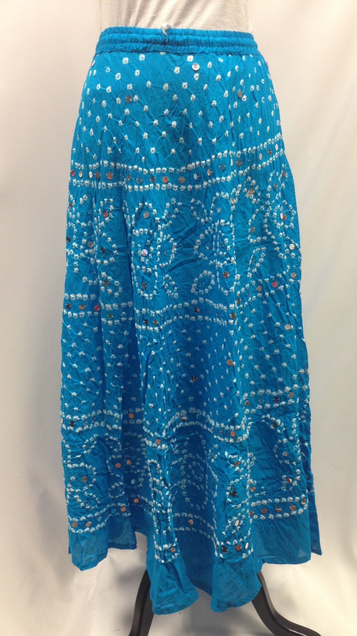 3010ac1f6 Bandhani Tie-Dye Skirt from Jaipur with Large Sequins- Sky Blue ...
