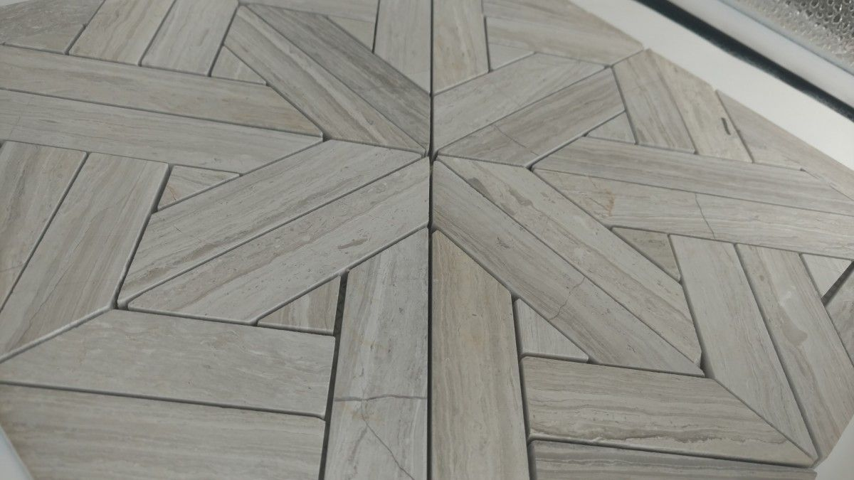 Aztec Pattern Ivory Wood Vein Marble Wall Floor Tile French Country Bathroom Marble Wall Tile Floor
