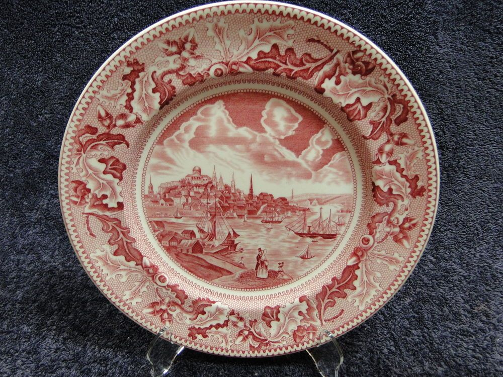 Johnson Brothers Historic America Pink Red Dinner Plate 10\
