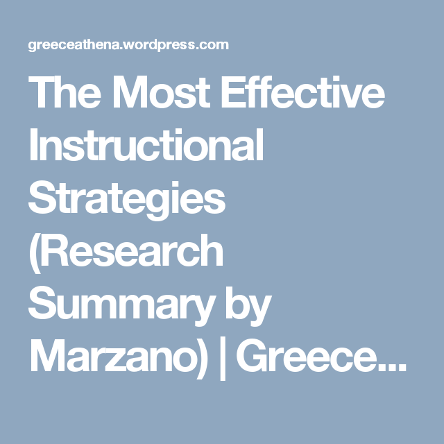 The Most Effective Instructional Strategies Research Summary By