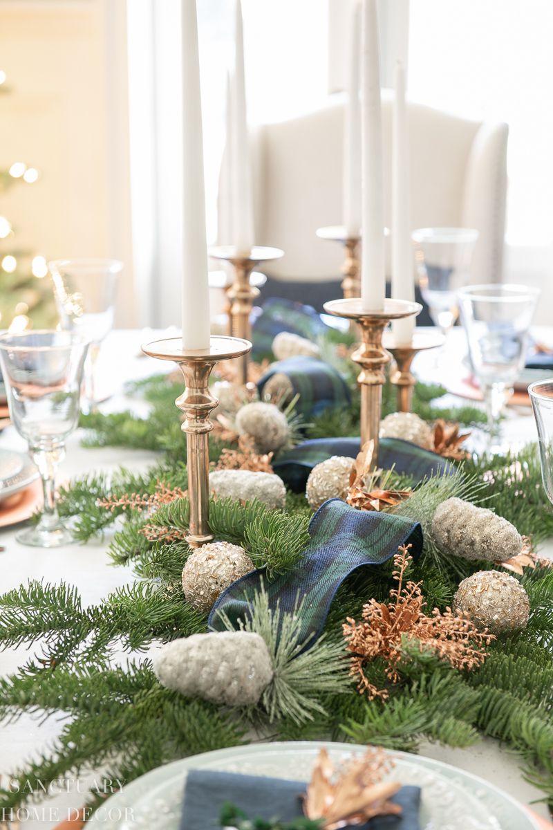 An Easy Christmas Centerpiece For A Long Table Sanctuary Home Decor Christmas Table Centerpieces Christmas Candle Centerpiece Christmas Table Settings