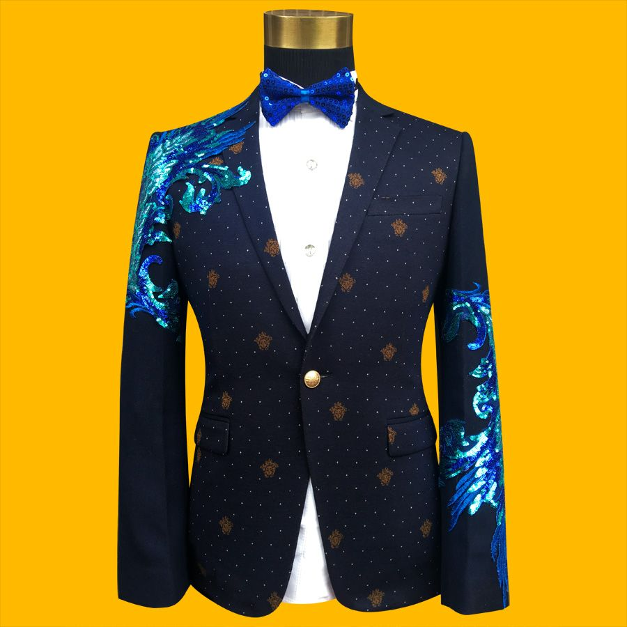 New Slim Male Suits Blazer blue/Black Gold Sequins Embroidery ...