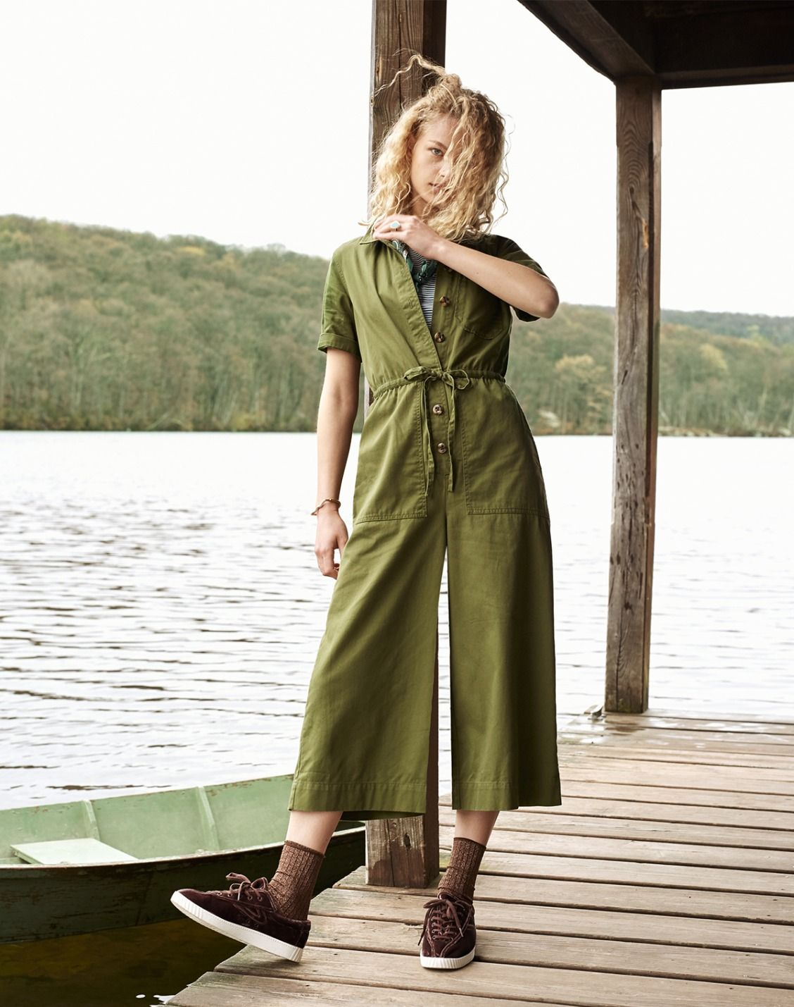 49953098d4f madewell wide-leg utility jumpsuit worn with the madewell x hansel from  basel ribbed sparkle socks + madewell x tretorn sneakers.