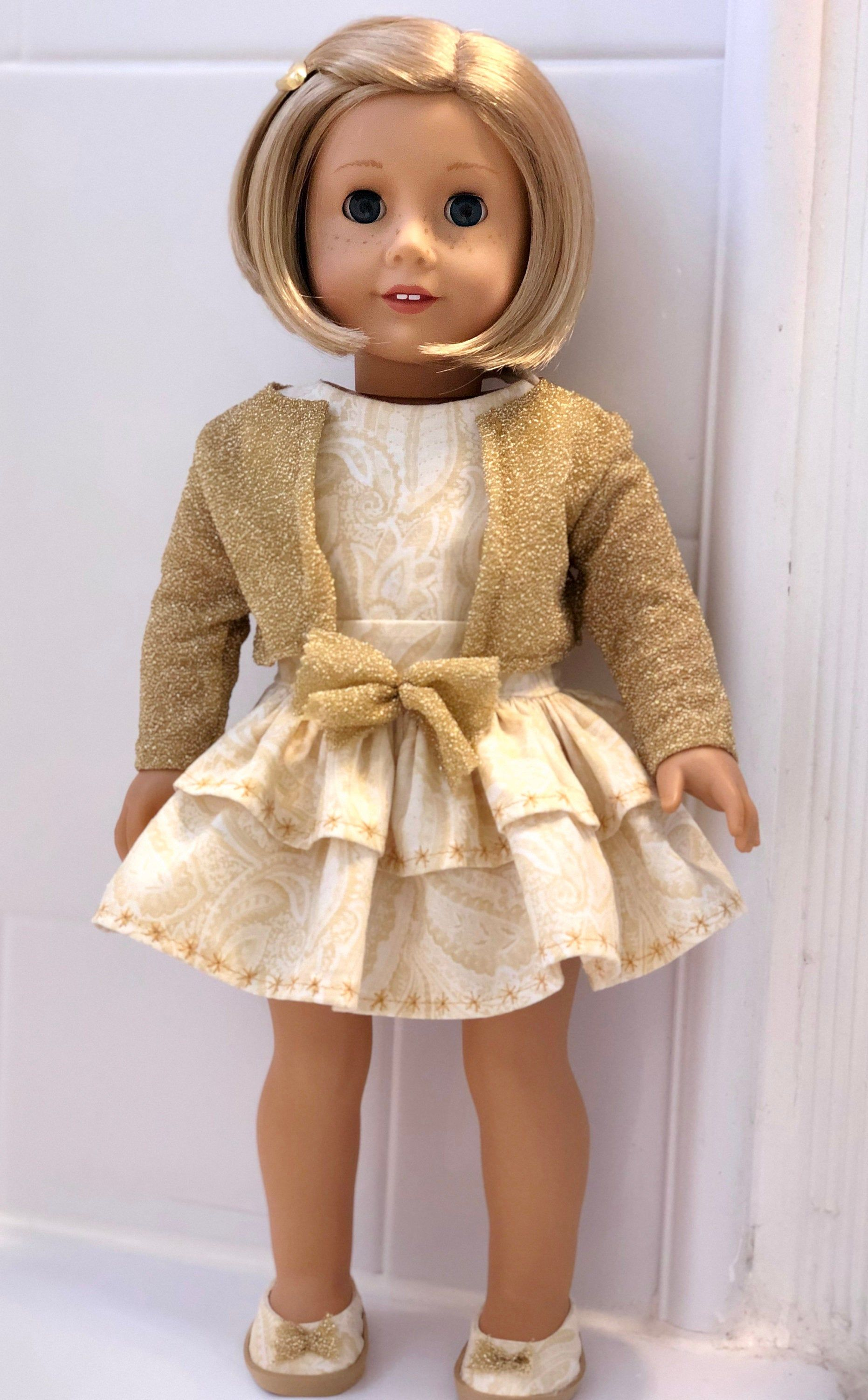 18 Inch Doll Clothes- Golden Sparkle Holiday Dress, Sweater, and Shoes for 18 Inch Dolls Such as THE Most Popular Girl Doll #18inchdollsandclothes