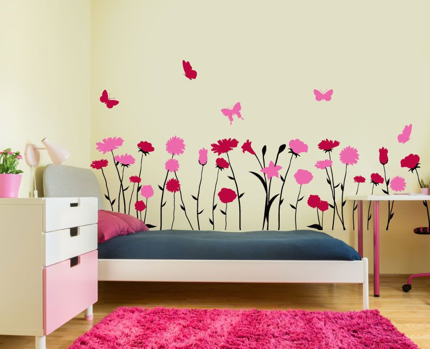 Flores Mariposas Colores Rosas Claveles Mural Decorativo En