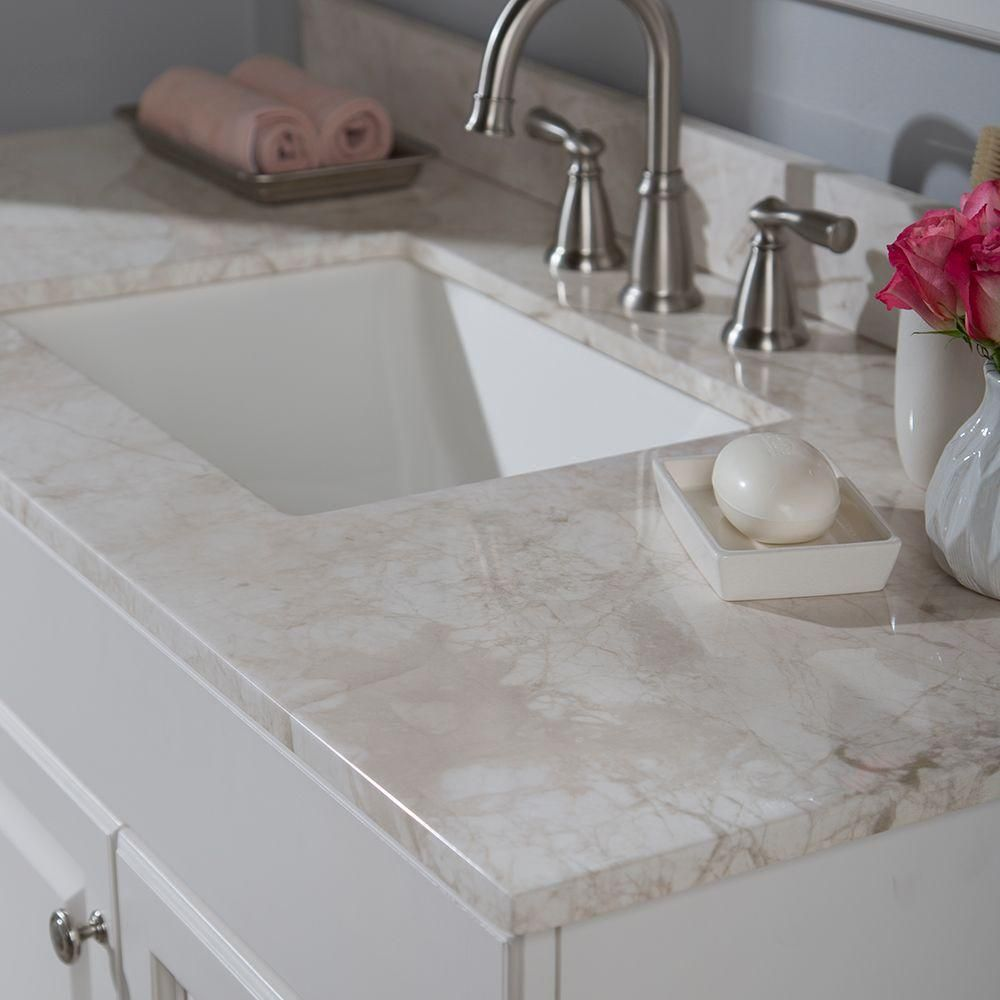 Home Decorators Collection 49 In. Stone Effects Vanity Top In Dune With  White Basin