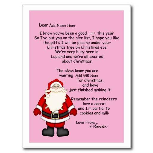 Letter From Santa Postcard  Santa