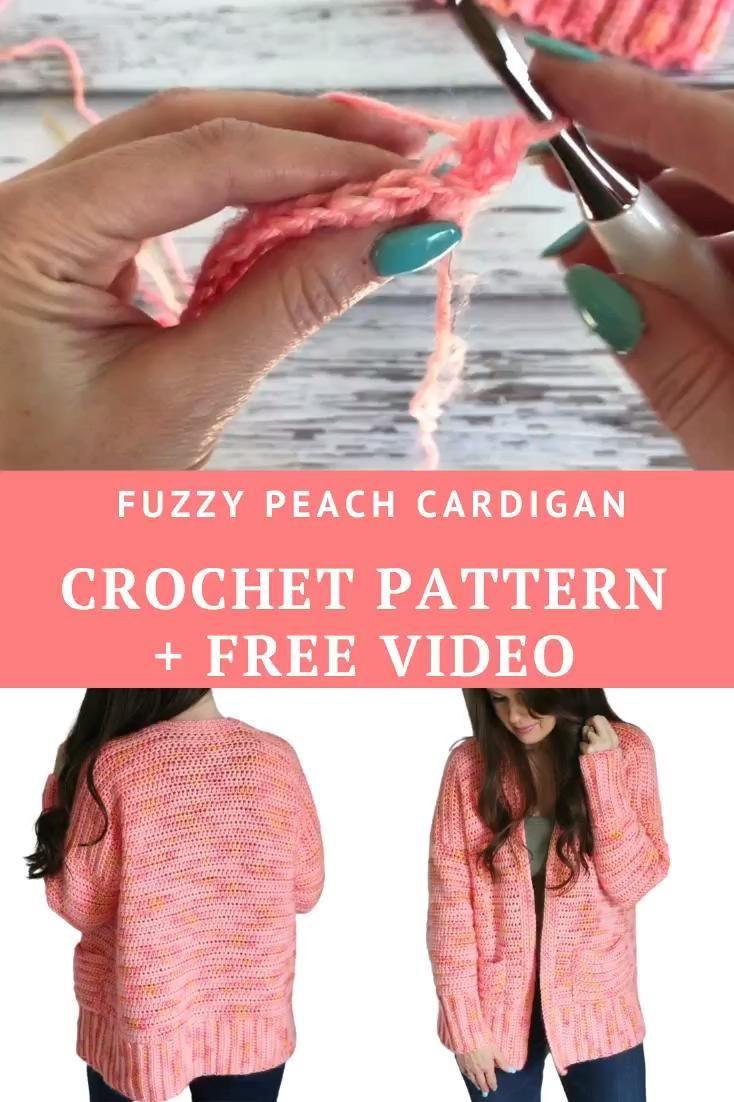 EASY Crochet Cardigan - Fuzzy Peach Cardigan