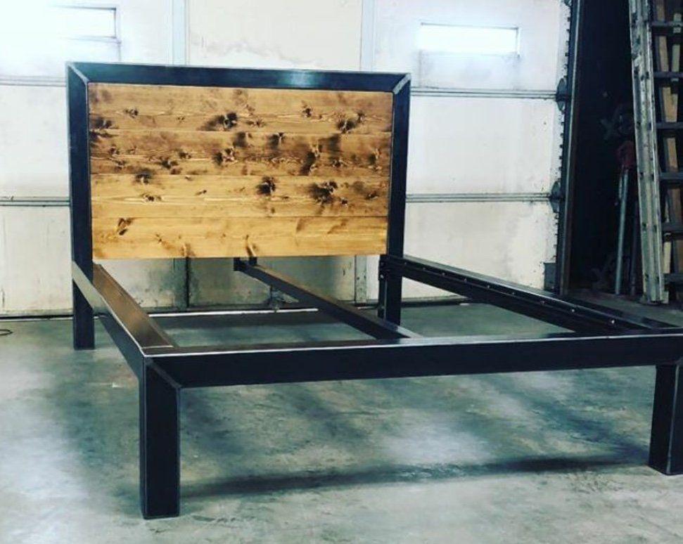 Industrial Bed Industrial Metal Bed Frame And Wood Headboard