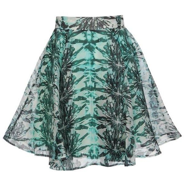 FELDER FELDER Printed silk-gauze skater skirt ($375) ❤ liked on Polyvore featuring skirts, bottoms, flower skirt, green skater skirt, green circle skirt, green skirt and felder felder