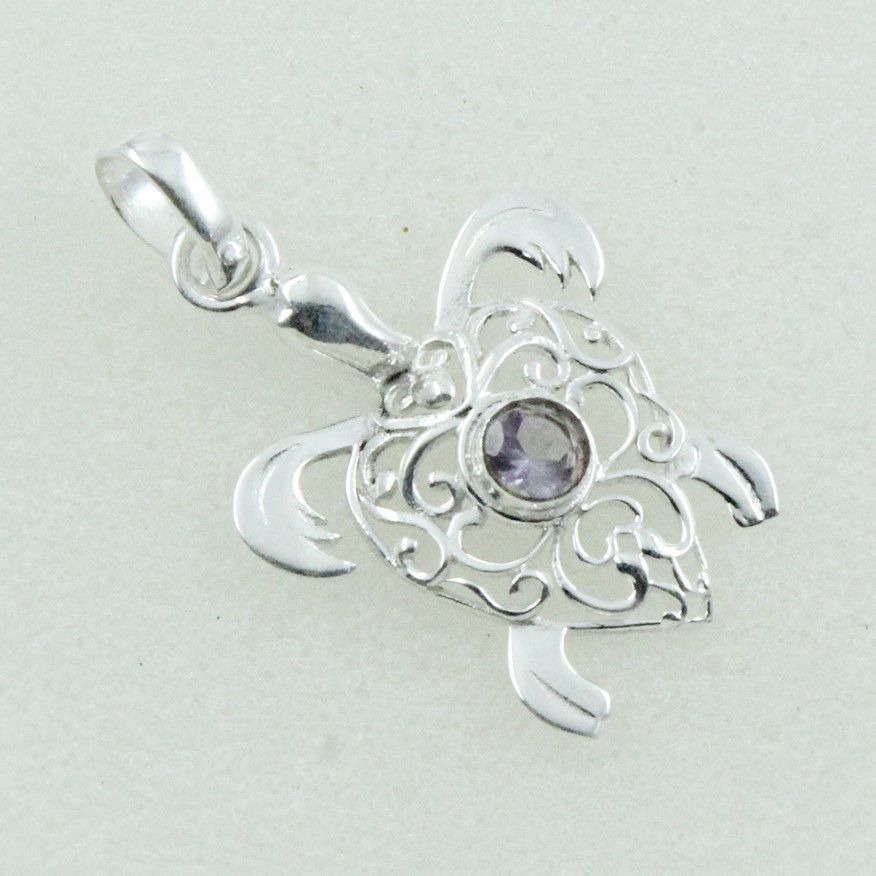 TURTILE SHAPED DESIGN !! 925 STERLING SILVER PENDANT JEWELLERY IN AMETHYST STONE #SilvexImagesIndiaPvtLtd #Pendant