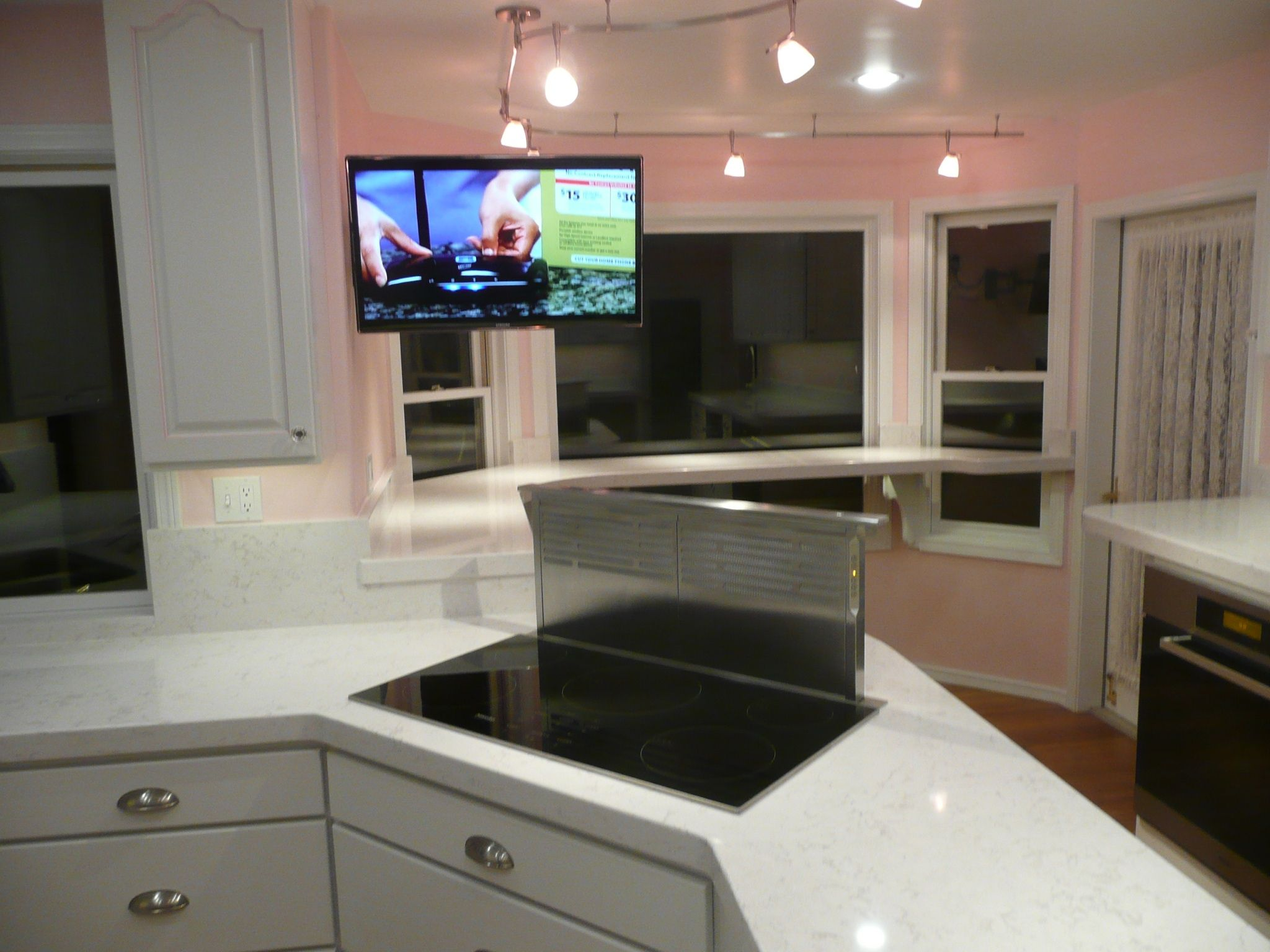 Kitchen Island With Range Miele Induction Cooktop And Downdraft Vent Cambria