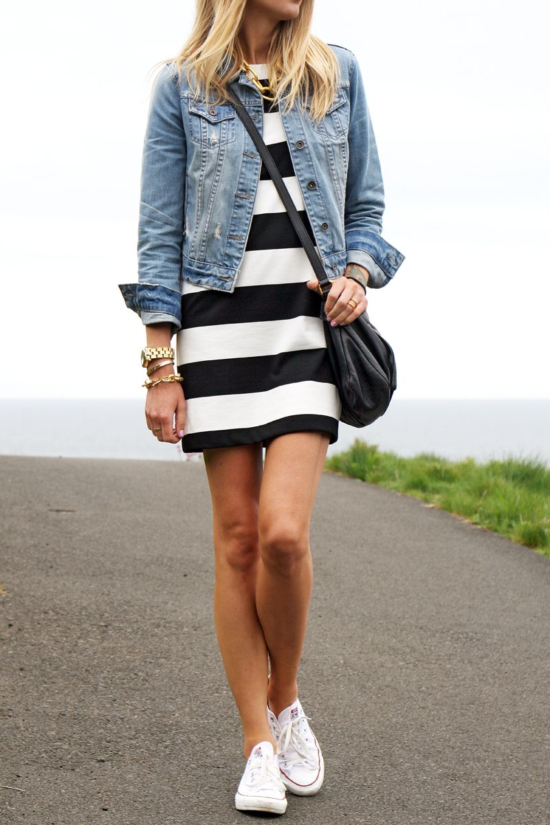 Black dress jean jacket - Black White Stripe Dress Denim Jacket White Converse Black Marc Jacobs Crossbody