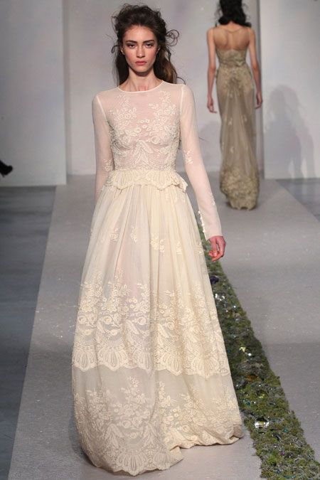 Long-sleeved lace gown from Luisa Beccaria's Fall 2012 runway show. Photo courtesy of Fairchild Archives. #weddings #weddingdress