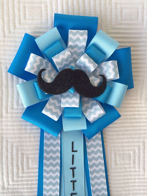 Mustache Baby Shower Corsage Pin Little Man Blue On Etsy Baby