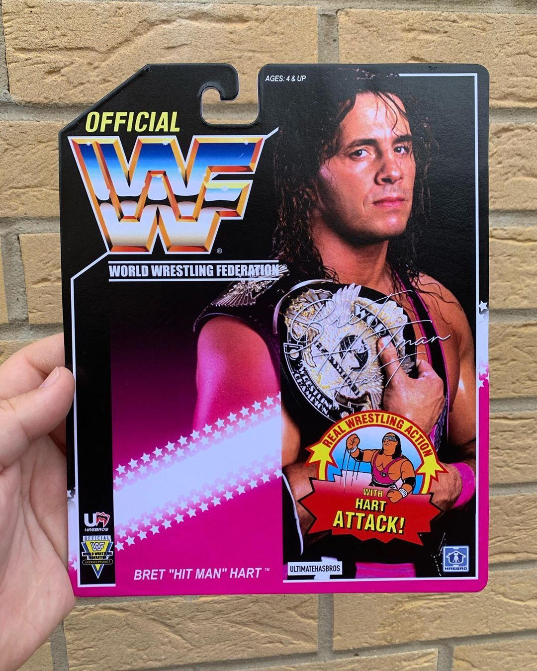 """At today's prices I don't think I'm ever going to be able to own a MOC Series 8 Bret """"Hitman"""" Hart so I decided to make my own version instead.  #wwfhasbros #wwfhasbrofigures #wwfhasbrocustoms #wwf #wrestlingfigures #wrestlemania #toys #actionfigures #wrestling #prowrestling #wwfgoldenage #wwfcustomhasbro #scratchthatfigureitch #wwfhasbro #majorwfpodcast #wrestlingcustom #brethart #brethitmanhart💗 #bestthereisbesttherewasbestthereeverwillbe #hitman #calgary #montrealscrewjob #champion #goat #ww"""