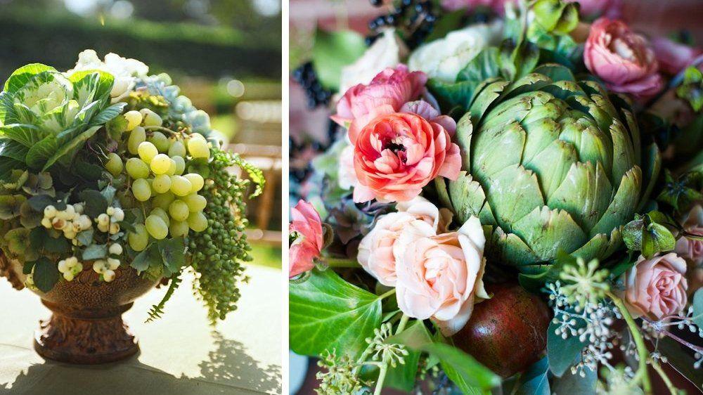 60 id es d co pour un mariage nature l gumes deco mariage nature et deco champetre - Composition florale avec fruits legumes ...