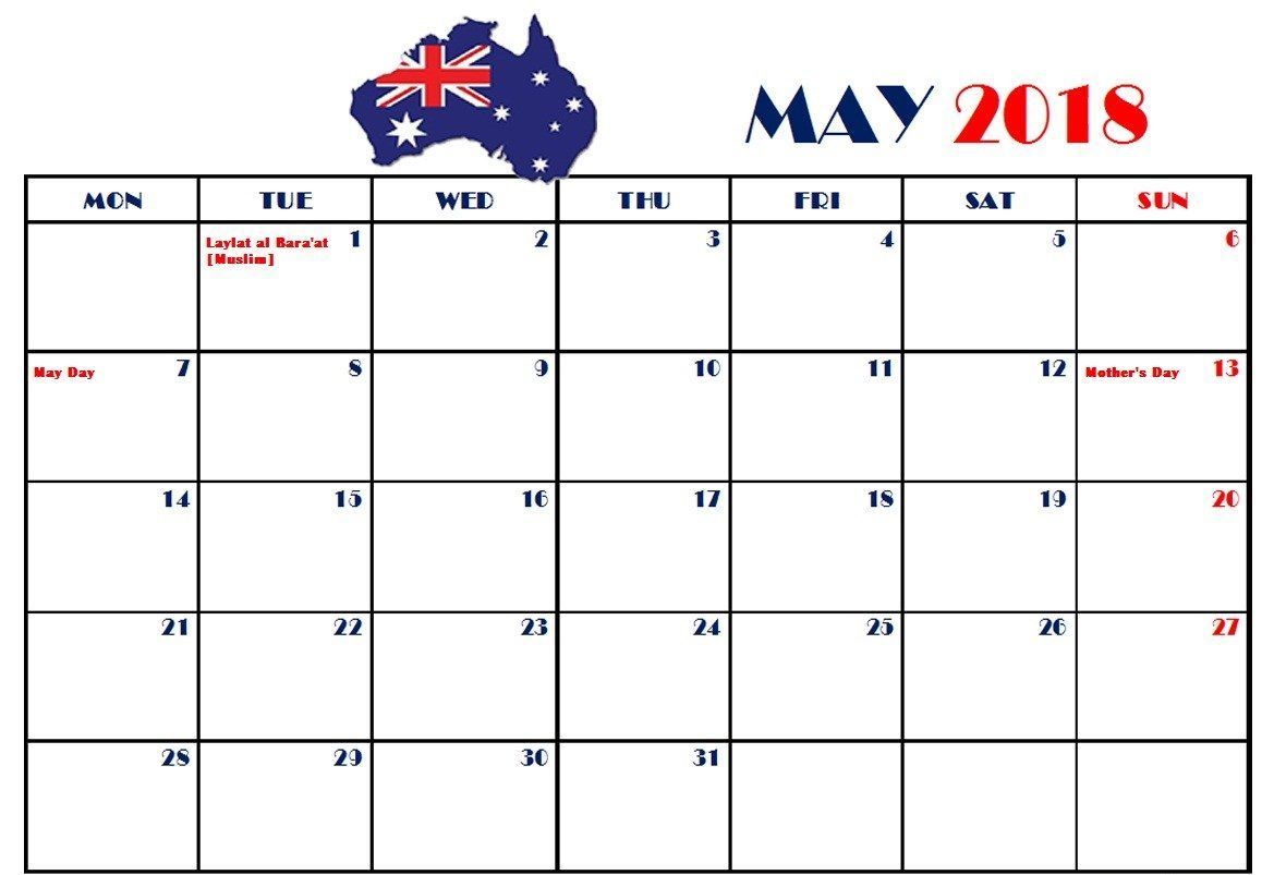 may 2018 australia calendar with holidays