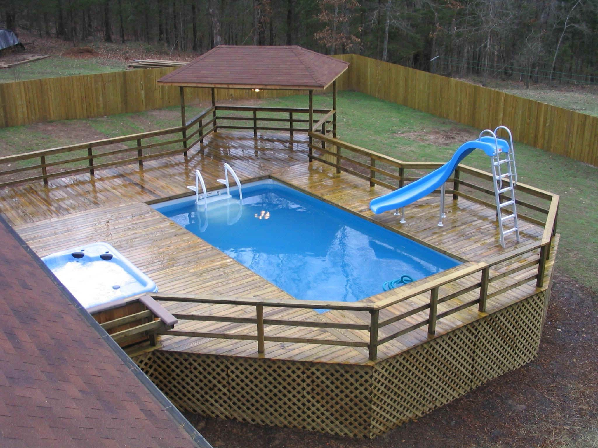Narrowest rectangular above ground pool pool slides with wooden floor around rectangular - Above ground composite pool deck ...