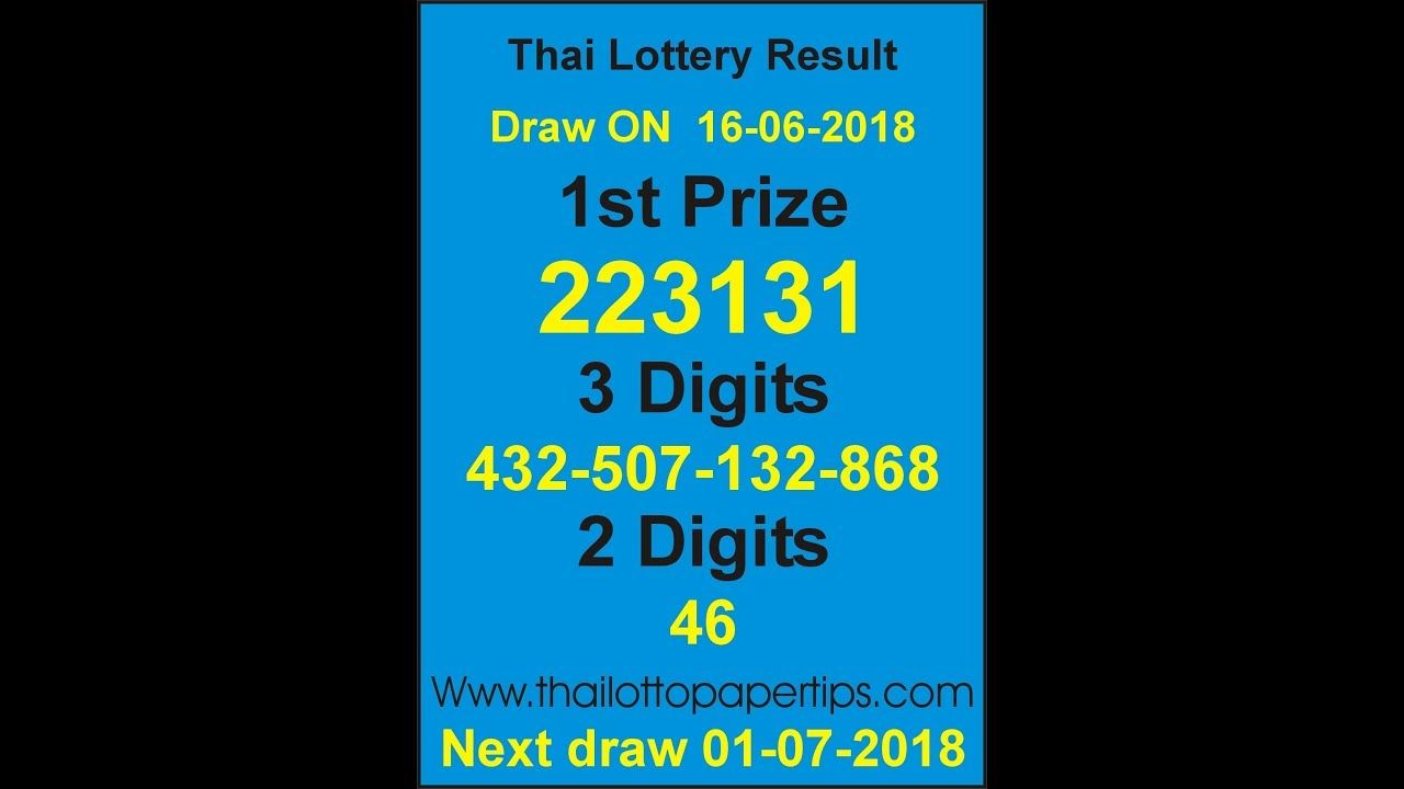 Online Thailand Lottery Live Draw Result June Today 16 06