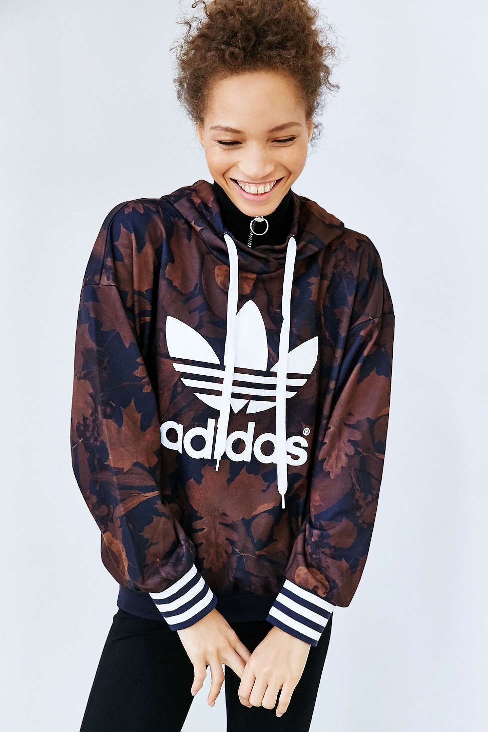 adidas Originals Leaf Camo Hoodie Sweatshirt - Urban Outfitters ... 2cb7d321565