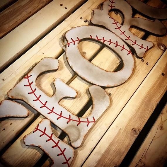Baseball Decor-Baseball Wall Letters | Bedroom decor ideas ...